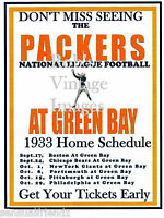 Green Bay Packers Home Schedule Game Poster 1933 NFL Vintage Football  print