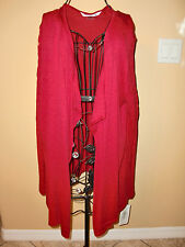 "NWT$99.00""PETER NYGARD""Red Passion Knitted Cotton/Viscose Wrap Sweater  size Lg."