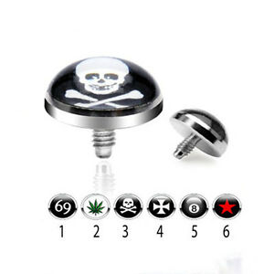 1 - 14 Gauge Internally Threaded 5mm Dome Logo Steel Dermal Anchor Top G15