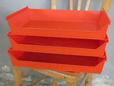 Banettes casiers de rangement de papiers de bureau orange vintage