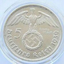 GERMAN Coin 5 MARK REICHSMARK 1939 B SWASTIKA HINDENBURG Silver 3rd Reich WW2