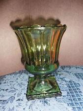 VINTAGE GREEN GLASS CANDY DISH/ CANDLE HOLDER/VASE ON PEDESTAL  EUC