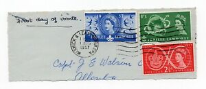 GB QEII World Scout Jubilee FDC 1 Aug 1957 SG 557-559 on piece