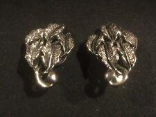 1.5� L #1. See Photos. Vintage Clip-On Earrings. Silverlike. Leaves.