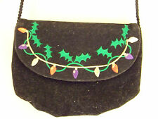 Mitzi Yule Holiday New Years Embroidered Velvet Evening bag w/long strap.$15.95