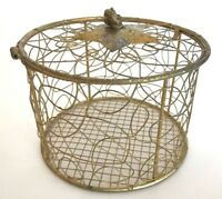 Handcrafted metal trinket vanity box basket gold wire sparkly round hinged star