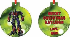 Personalized Optimus Prime Transformers Ornament ( Add Any Message You Want)