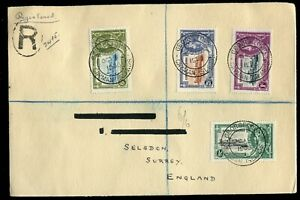 Cayman Islands KGV 1935 Silver Jubilee set SG108/11 used on registered cover