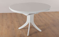 HUDSON Round Extending White Dining Room Table Furniture