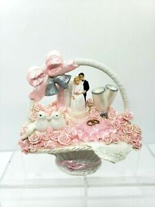Vtg 90s Ceramic Hand Painted Basket Cake Topper Bride Groom Doves Decor Pink 5""