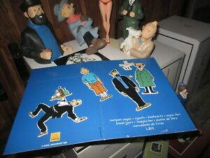 Hergé-Ancienne plaquette marques pages+ gommes d époque(1970-1999)