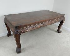 Gorgeous Large Chinese Intricately Carved Huanghuali Table 78.5 inches