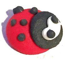 12 Ladybirds Handmade edible sugar cake topper decorations Royal Icing bugs 1cm