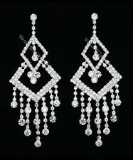 "3.75"" Bridal Pageant AB Crystal Chandelier Earrings"