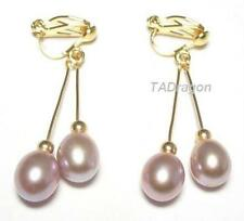 AAA Genuine Purple Pearl 18K YGP Double Dangle Clip On Earrings