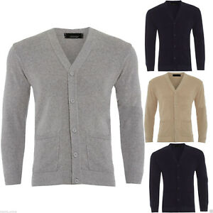 Mens Plain Knitted V Neck Buttoned Cardigan Fine Cotton Knitwear Warm Top Size