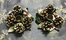 2 Vintage Candle Holders Pine Cones Shellacked Holly Leaves Aluminum Japan