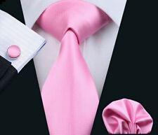 Pink Necktie Set include Handkerchief and Cufflinks (by Hi-Tie)