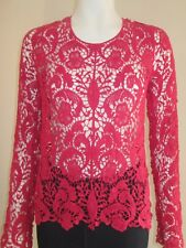 STUNNING ROSE RED LACE Summer Top longer sleeve Free people Festival  Med 10-12