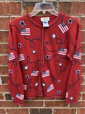Talbots Petites Sweaters Sz. Small Red Fourth Of July Stars And Stripes Cardigan