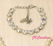 CLEAR CRYSTAL Cup Chain Bracelet made w/ AURORA BOREALIS Swarovski Crystals