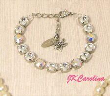 CLEAR CRYSTAL Cup Chain Bracelet made w/ AURORA BOREALIS Swarovski Crystals