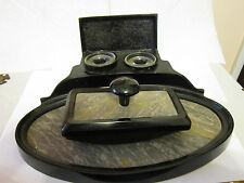 Antique Depose Marble & Black Metal Double Inkwell w/Ink Blotter