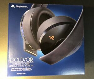 Official Sony PS4 Gold Wireless Headset [ 500 Million Limited Edition ] NEW