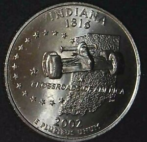 2002-D 25C State Quarter Indiana  BU CN CLAD 21ct0201 70 Cents Shipping