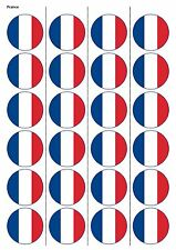 24X PRECUT FRANCE FLAG FOOTBALL EDIBLE WAFER PAPER, CUPCAKE, CAKE TOPPERS 1189