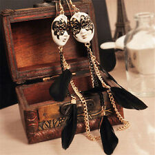 Unique Baroque Chain Feather Tassel Chain Mask Long Drop Earrings for Women Pip'