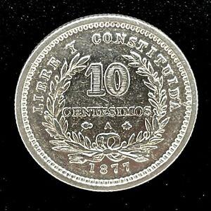 1877A  Uruguay 10 Centesimos Silver Coin KM#14