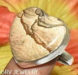 """Heart Shape Picture Jasper Ring 925 Silver Plated Us Size 7.5"""" R003-E115"""