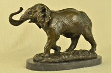African Safari Elephant Bronze Figurine Statue Marble Base Figurine Art  Nouveau