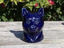 ANTIQUE CAT HEAD BLUE GLAZE POTTERY STILL BANK