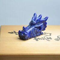 Natural Lapis Lazuli quartz Crystal Dragon Skull Hand Carved Reiki Healing 1pcs
