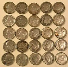 1946 - 1964 10C ROOSEVELT DIMES LOT OF 25 -  2 OZ OF SILVER COINAGE