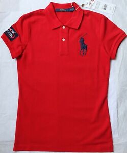 $98 NWT Ralph Lauren Women`s Big Pony Polo Shirt S Red US Open Cotton Top New