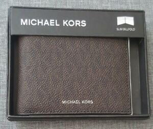 Michael Kors Brownish Black Leather Slim MK Logo Billfold Wallet