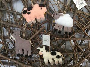 Gisela Graham Christmas felt animal pig sheep cow donkey tree decoration