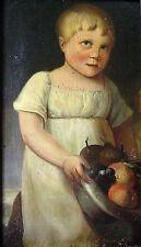 Antique Folk Art Canvas Board Oil Portrait Painting
