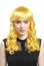 Perruque Femmes Carnaval Cosplay Tire-bouchon Boucles lang Pony jaune