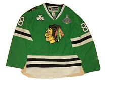 Hockey Patrick Kane Chicago Blackhawks Stanley Cup patch Green Jersey Reebok 48