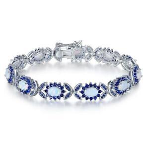 18K White Gold or Rose Gold Plated Created Opal Tennis Bracelet Gemstone