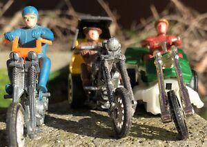 LOT: 3 Vintage 1971 MATTEL RRRUMBLERS CHOPCYCLE + Riders! Mexico China Hong Kong