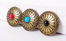 3X Native Navajo Turquoise Flower Copper Western Saddle Biker Craft Conchos Set