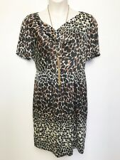 SPORTSCRAFT signature animal print silky short sleeve shift dress lined sz 14
