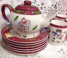 Porcelain Laurie Gates Christmas Snowman Teapot, 6 plates, 6 mugs