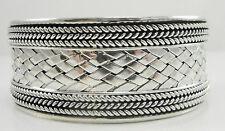 "Sterling 1-1/8"" Wide Cuff Bracelet Basketweave Rope Design 7 3/8"" Contemporary"
