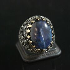 925 Sterling Silver Handmade Gemstone Turkish Sapphire Mens Ring Size 7-10